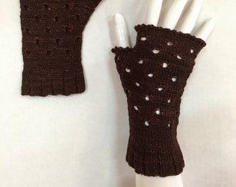 Women's fingerless gloves, 100% merino wool, brown, hand knit, vintage inspired. Light weight but warm.