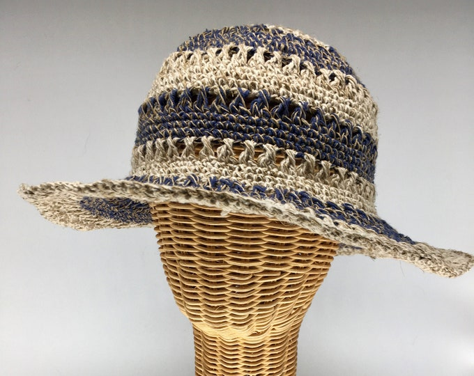 Featured listing image: 100% hemp straw sun hat blue Striped, 3 inch wire shapable brim.  Ultraviolet light resistant, mold resistant so can be out in rain or shine