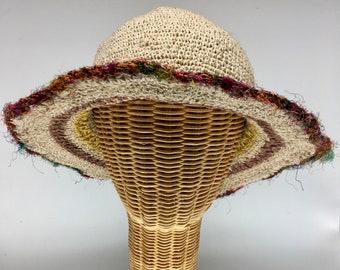 "100% hemp straw sun hat, striped, 3"" wire shapable sari-silk trimmed brim.  Ultraviolet light resistant, mold resistant"