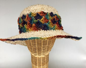 """100% hemp straw sun hat rainbow color, 3"""" wire shapable brim.  Ultraviolet light resistant, mold resistant so can be out in rain or shine"""