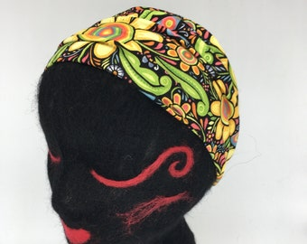 100% Cotton Headband with elastic back, pre-washed cotton, bold Geometric floral, hair wrap