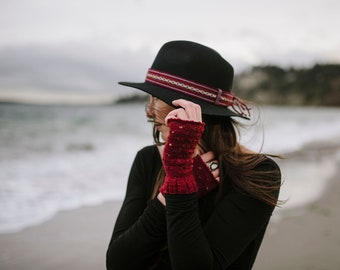 Women's fingerless gloves, 100% merino wool, deep red, hand knit, vintage inspired. Light weight but warm.