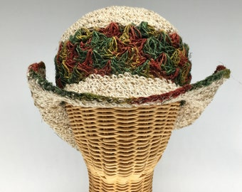 """100% hemp straw sun hat orange, green, 3 """" wire shapable brim.  Ultraviolet light resistant, mold resistant so can be out in rain or shine"""