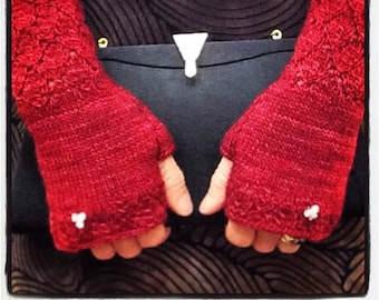 """Wristlets, fingerless gloves, for women, light weight and warm, button, red, superfine merino wool, 9""""  length. Formal, fashion, gift"""