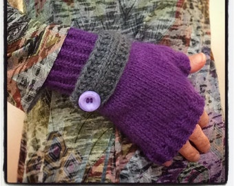"""Women's fingerless gloves, fingerless mittens, hand knit wristlets, purple with gray button down strap, wool and angora, 7 """" length"""