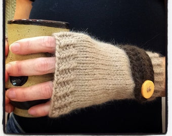 """Women's fingerless gloves, fingerless mittens, hand knit wristlets, tan with brown button down strap, wool and angora, 7 """" length"""