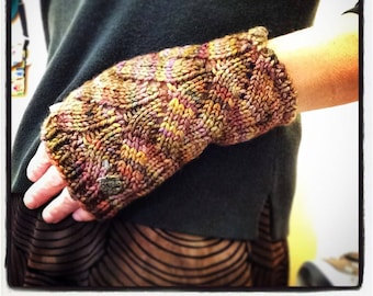 "Women's, hand knit, fingerless gloves, boho, wristlets, brown, gold,, superfine merino wool, cable panel, 7"" in length."
