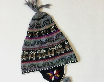 100% Baby Alpaca hand knit earflap hat, snowboarder hat, soft, gray, black, images of the llamas and flower of life. For men, women