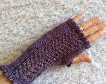 "Women's, hand knit, fingerless gloves, wristlets, purple, superfine merino wool, lace panel.  4"" wrist length. 8"" total length."