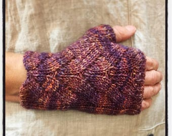Women's, hand knit, alpaca and merino fingerless gloves, fashion wristlets, hands free gloves for easy texting & driving.
