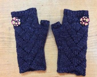 "Women's, hand knit, fingerless gloves, boho, wristlets, purple, blue, superfine merino wool, cable panel.  7"" total length."