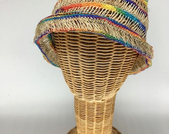 100% hemp straw rainbow stripe, ultra-light weight slouchy.  Ultraviolet light resistant, mold resistant so can be out in rain or shine