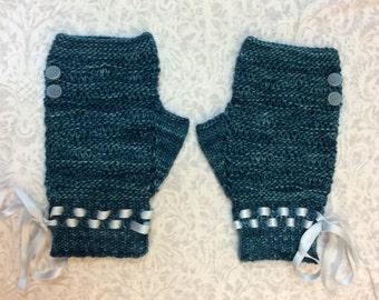"Women's, hand knit, fingerless gloves, wristlets, light weight,button, teal, wavy,superfine merino wool, 7"" length. prom, wedding"