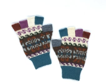 Fingerless Gloves 100% Baby Alpaca hand knit, turquoise and brown with images of the sun, flower-of-life motifs, great gift for men orwomen