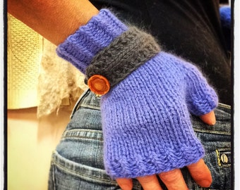 """Women's, hand knit, fingerless gloves, boho, wristlets, periwinkle with gray buttondown strap, wool and angora, 7 """" length"""