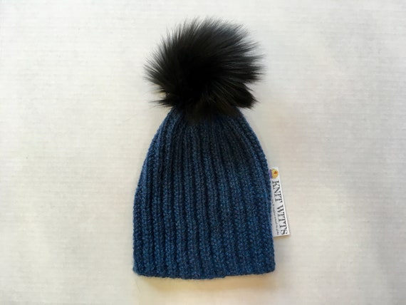 Slouchy Pom Pom Hat handknit Alpaca and Merino relaxed fit  1d69bce1d9b7