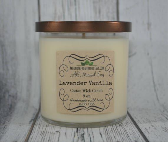 Lavande vanille 9 oz. Vegan tout naturel de soja coton ou bougie mèche en bois qui craque par ATHDecor. Sans colorant.