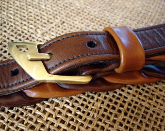 LEATHER HANDMADE BELT / Belt / Leather Belt / Belt Handmade / Belt Accessories / Belt Men / Belt Women / Belt Sand and Brown Chocolate.
