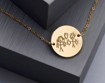 Actual Handwriting Disc Necklace - Personalised Necklace - Disc Necklace - Child's Drawing Necklace - Gold Filled NDH02