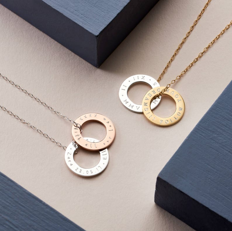 Personalised Mixed Rings Message Necklace Circle Necklace NC50 Custom Rings Pendant Necklace Roman Numerals Necklace