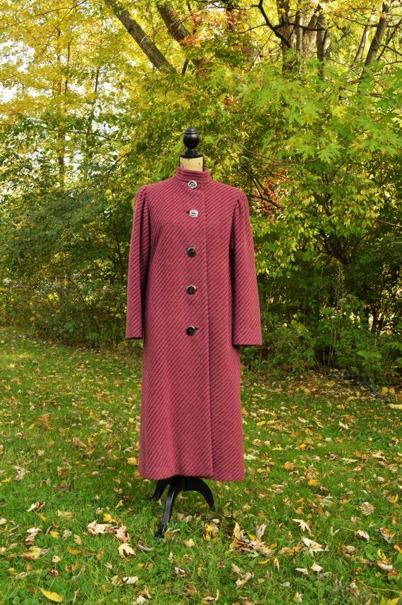 "Vintage ""A TRIGERE COAT"", Red Stripe Wool blend, c"