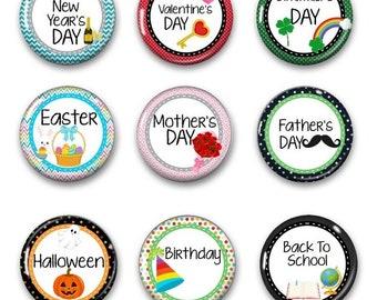 Holiday Calendar Magnets - Fridge Magnets - Calendar Magnets - Holiday Magnets - Housewarming Gift Magnets - Magnets For White Board