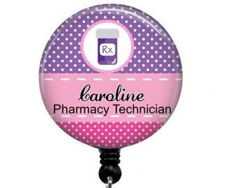 Pharmacy Badge Reel - Id Badge Holder - Badge Holder - ID Badge Reel - Retractable Badge - Name Badge Holder - Pharmacy Technician