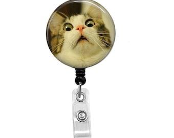 Retractable Badge Reel - Cat ID Badge - Badge Reels - Funny Cat Badge Reel - Funny Badge Reel  - D1