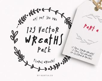 SVG wreaths, Christmas wreath, 100 Wreaths, laurel wreath vector, wreath logo design, wreath clip art, wedding wreath, vector floral wreath