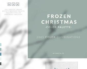 palette blue, frozen christmas, color palette, color palette adobe, color palette hex, procreate swatches, illustrator swatches,