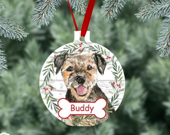Border Terrier Personalized Pet Christmas Ornament, Border Terrier Dog Watercolor Dog Ornaments, Two Sided Gloss Metal Ornament