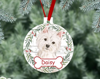 Westie Personalized Christmas Ornament, West Highland White Terrier Watercolor Dog Ornaments, Two Sided Gloss Metal Ornament