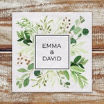 Wedding Greenery Personalized Cocktail Napkins, Watercolor Greenery White 3 Ply Paper Beverage Napkins, Boho Wedding, Outdoor Wedding
