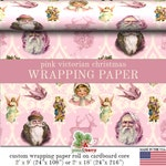 Pink Christmas Wrapping Paper Roll |  Victorian Pink Vintage Christmas Custom Gift Wrap In Two Sizes Great For A Pink Christmas Theme