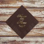 Rustic Wedding Reception Brown Cocktail Or Luncheon Napkins | 100 Personalized Brown Beverage Or Luncheon Napkins With Wedding Couples Names