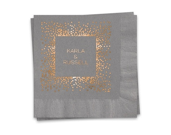 Personalized Wedding Napkins, 100 Slate Gray Beverage Napkins, Rose Gold Shiny Metallic Foil Imprint Design Personalized With Couples Names
