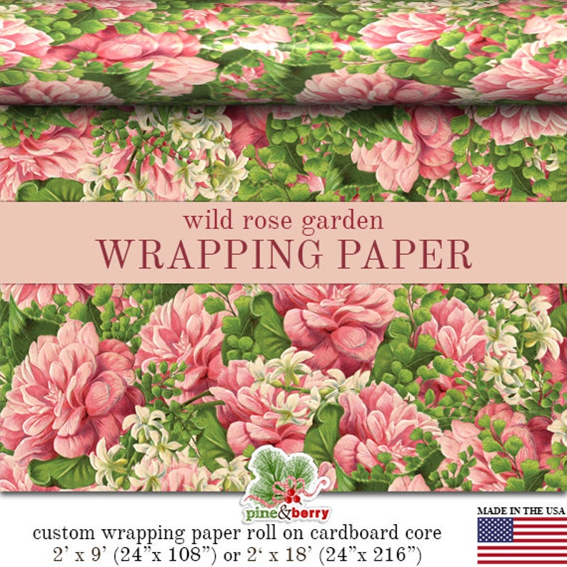 Pink Roses Floral Wrapping Paper  Victorian Rose Garden Gift image 0