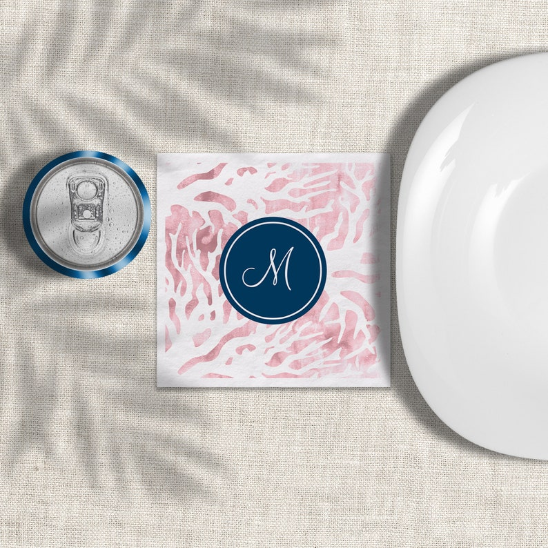 Pink Coral Navy Monogram Napkins Personalize 3 Ply Paper image 0