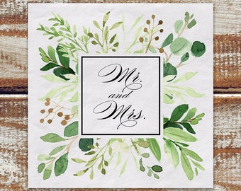 Wedding Napkins Greenery, 100 Mr And Mrs Cocktail Napkins, Watercolor Greenery White 3 Ply Paper Beverage Napkins, Boho Outdoor Wedding