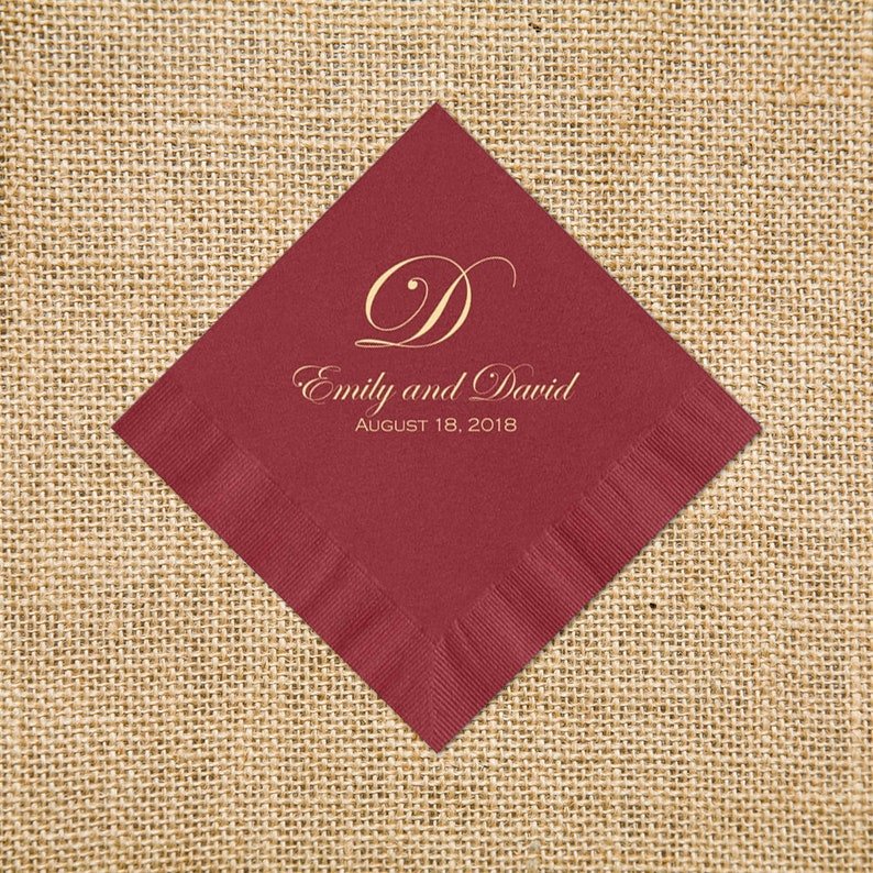 Monogrammed Napkins For Wedding Reception Personalized image 0