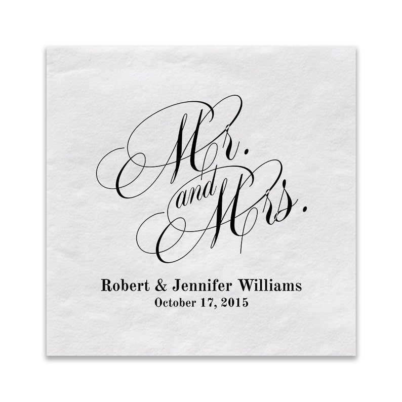 White Cocktail Napkins  Mr. And Mrs. Custom Beverage Napkins image 0