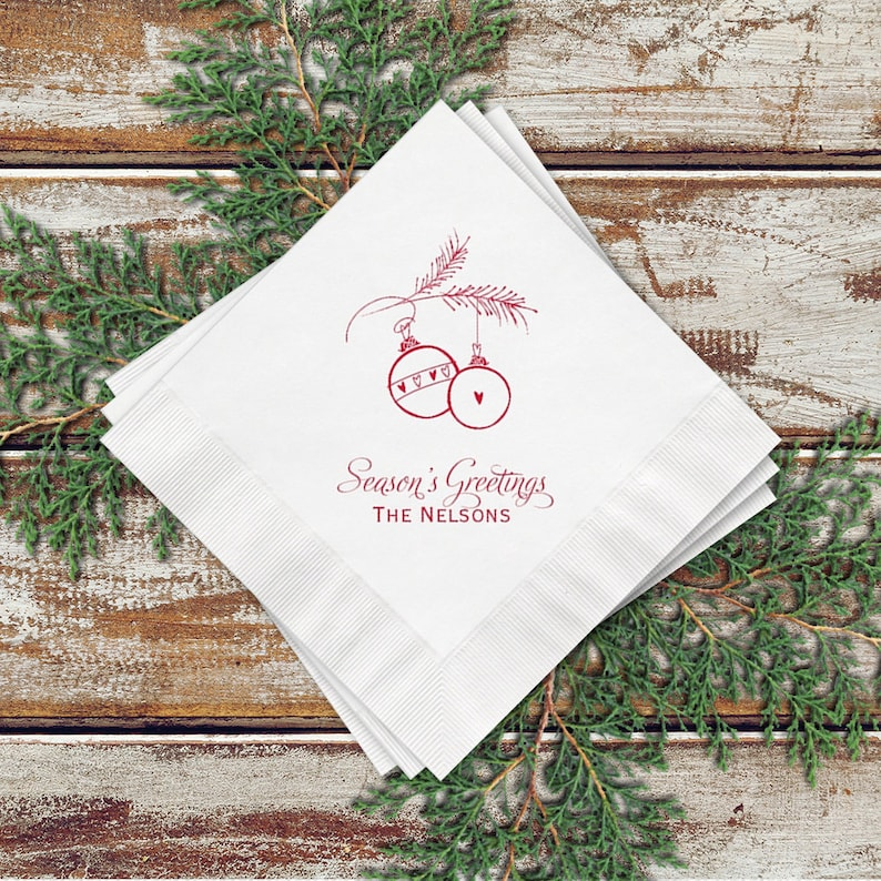 Personalized Holiday Party Cocktail Napkins Ornament Design image 0
