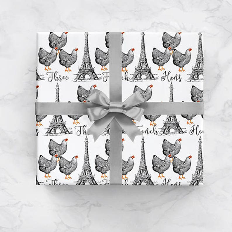 Three French Hens Christmas Wrapping Paper Roll Three French image 0
