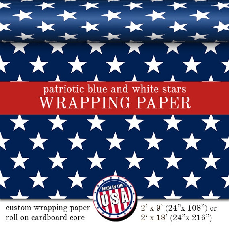 Custom Wrapping Paper Patriotic Blue With White Stars Pattern image 0