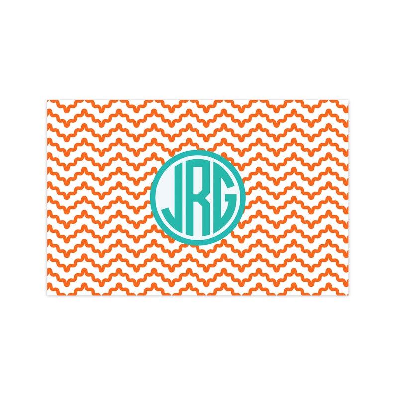 Personalized Three Monogram Paper Placemats Wavey Chevron image 0