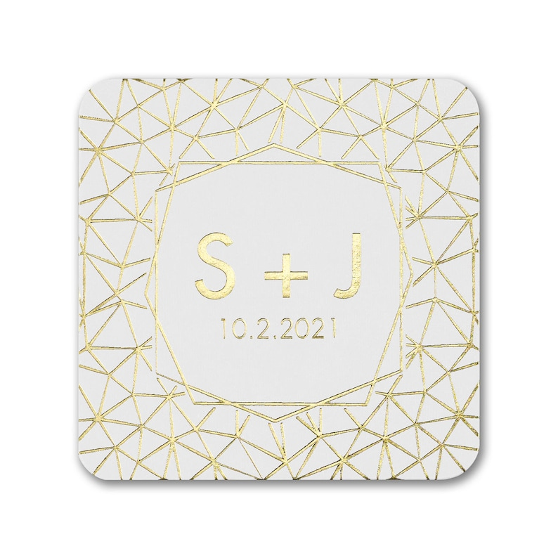 Personalized Coasters Wedding Gleaming Geo Coaster Wedding image 0