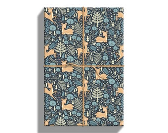 Woodland Deer Wrapping Paper Sheets For Christmas, 20 by 29 Inches, 5 Sheets