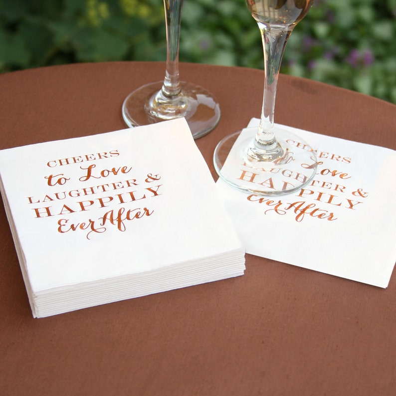 Cocktail Napkins Copper Foil Text For Wedding Receptions image 0