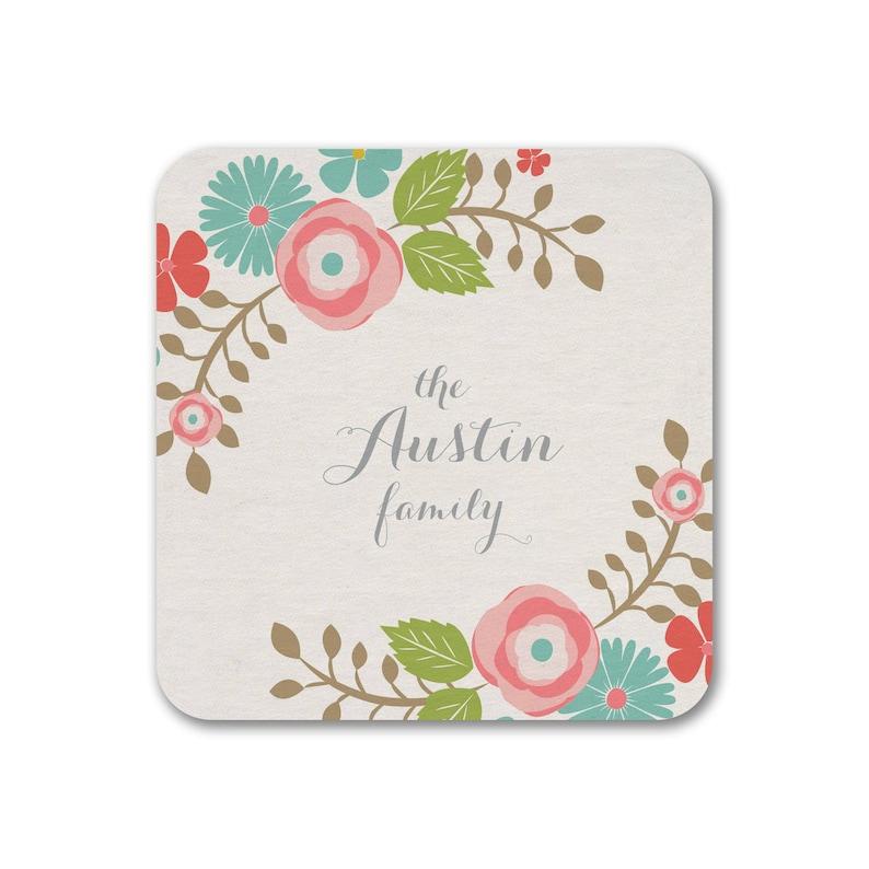 Personalized Coasters Boho Floral Gift Coaster Wedding image 0