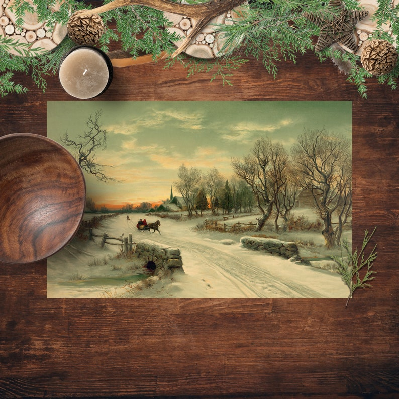 Placemats Winter Scene Christmas Morning Printed Paper image 0